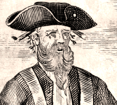 Pirate Blackbeard (Edward Thatch 1680 – 1718). Sample from illustration from Cpt. Charles Johson book. 1724.