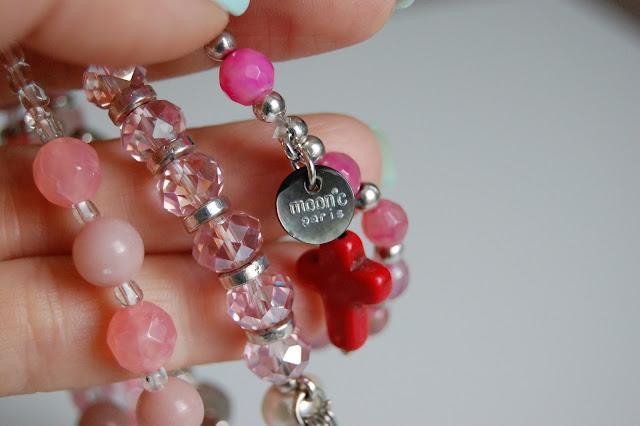 Moon C stamp on Pink Ibiza Bracelet