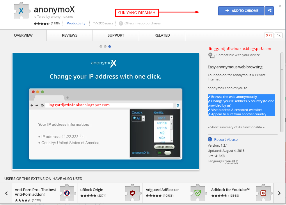 Ubah IP Address Dengan Anonymox Extension