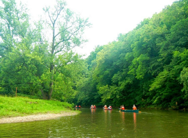 canoes turning the bend along the root river state water trail
