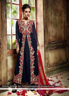 Embroidered Anarkali Salwar Kameez / Resham Work Navy Blue Suit