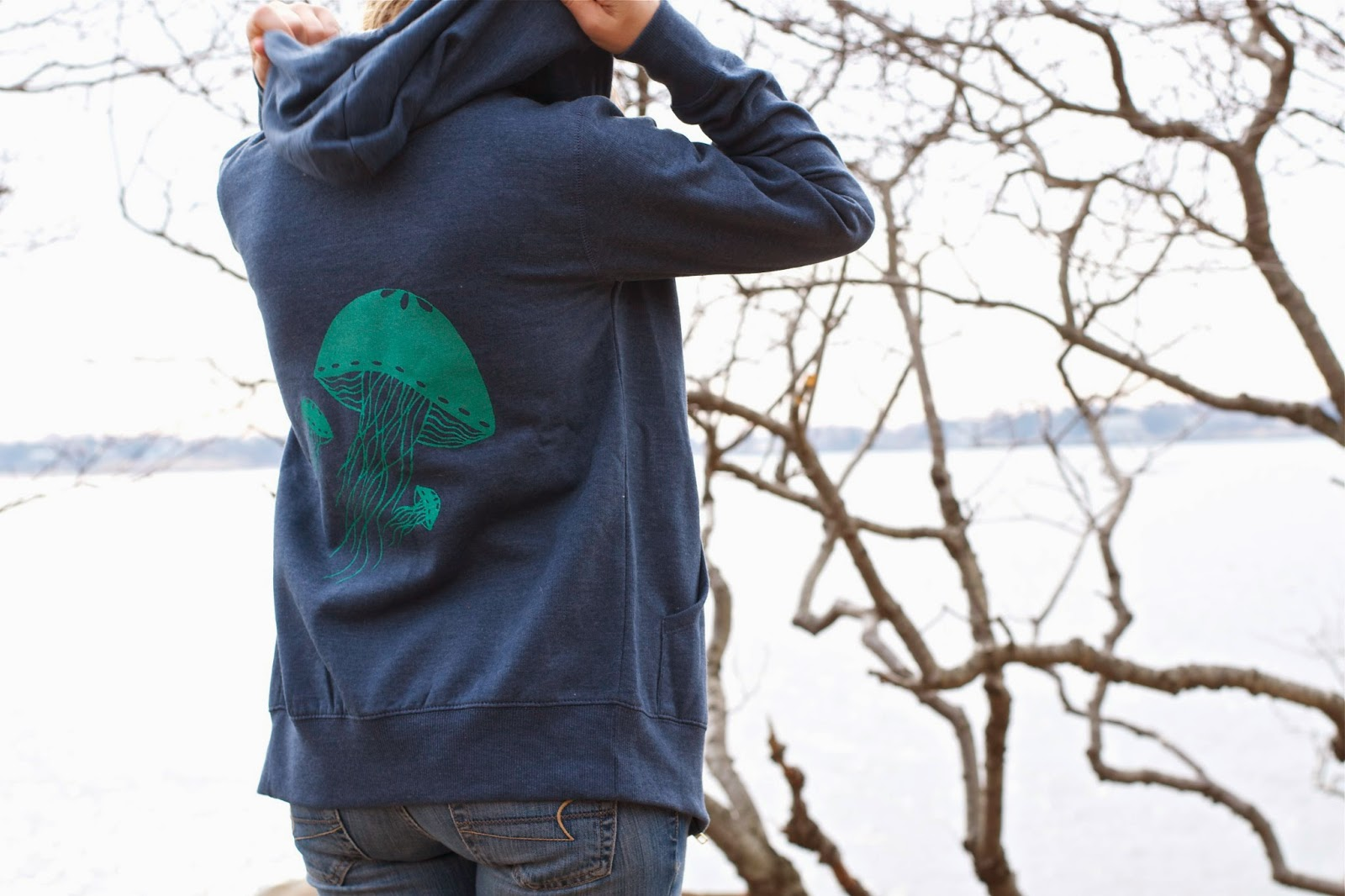 One of the new little owl hoodies! Jellyfish!!! Women's organic cotton, super comfy!
