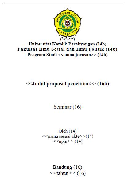 Contoh format sampul muka proposal penelitian