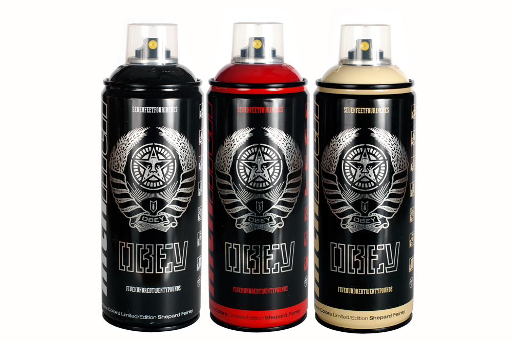 Inside The Rock Poster Frame Blog Obey X Mtn Spray Paint Cans Shepard Fairey Release Details