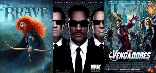 Indomable (Brave), Men In Black 3 y Los Vengadores (The Avengers) carteles y posters
