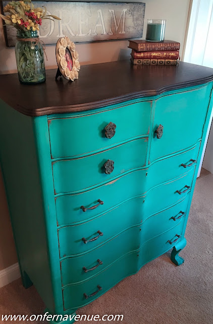 http://www.onfernavenue.com/2015/02/antique-wavy-dresser-in-green-patina.html