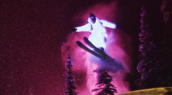 esquiadores,led,nieve,noche