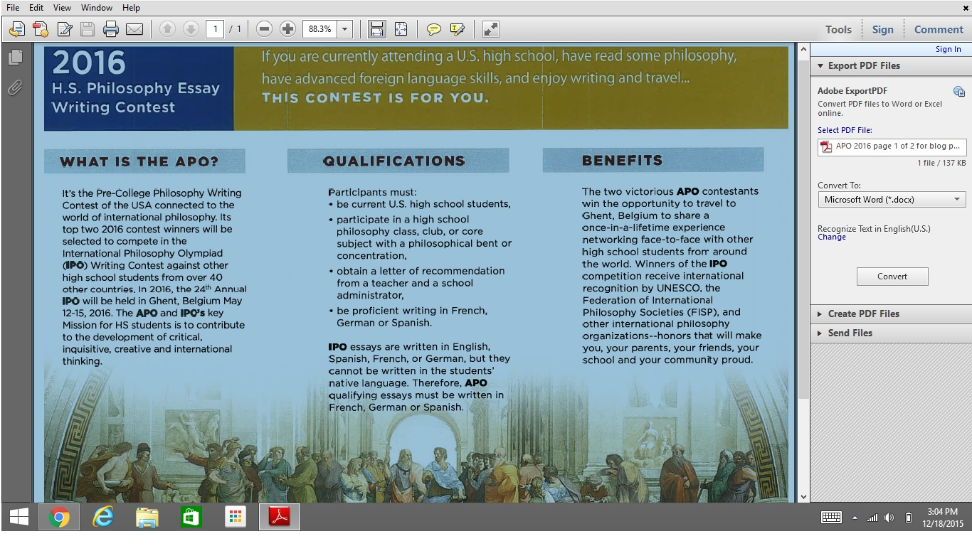 American Precollege Philosophy Apcp Apo  High School  Apo  High School Essay Contest Brochure Topics And Due Date