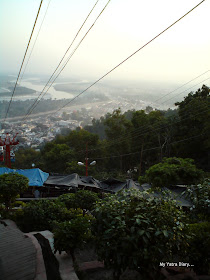 View of the Haridwar city from the Cable car chair while going upto the Mansa Devi and the Chandi Devi Temples in Haridwar