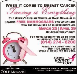 3-25 & 4-29 Free Mamograms Cole Memorial