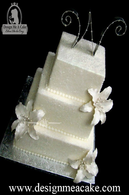 Wedding Cake with white Stargazer lilies