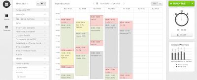Visualização do calendário no painel do primaERP TIME TRACKING.