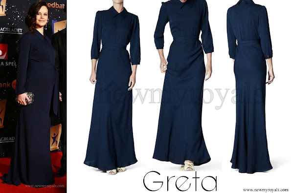 Princess Sofia Hellqvist of Sweden wore GRETA Martha Silk Gown - Jewelery, Diamond, earrings, baraceled