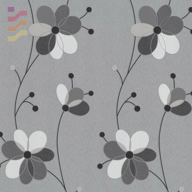 tapeta w kwiaty szara