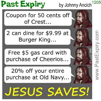 Cartoon about dollar, money, pun, religion, sale