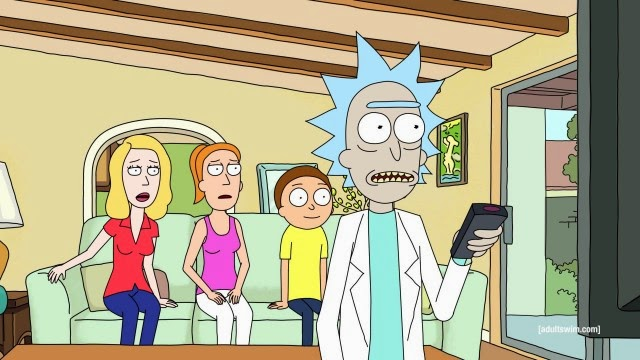Rick changes the channel to a Back to the Future marathon and is shocked to realize he's just a ripoff of Doc Brown.