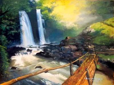 Lukisan Pemandangan Air Terjun