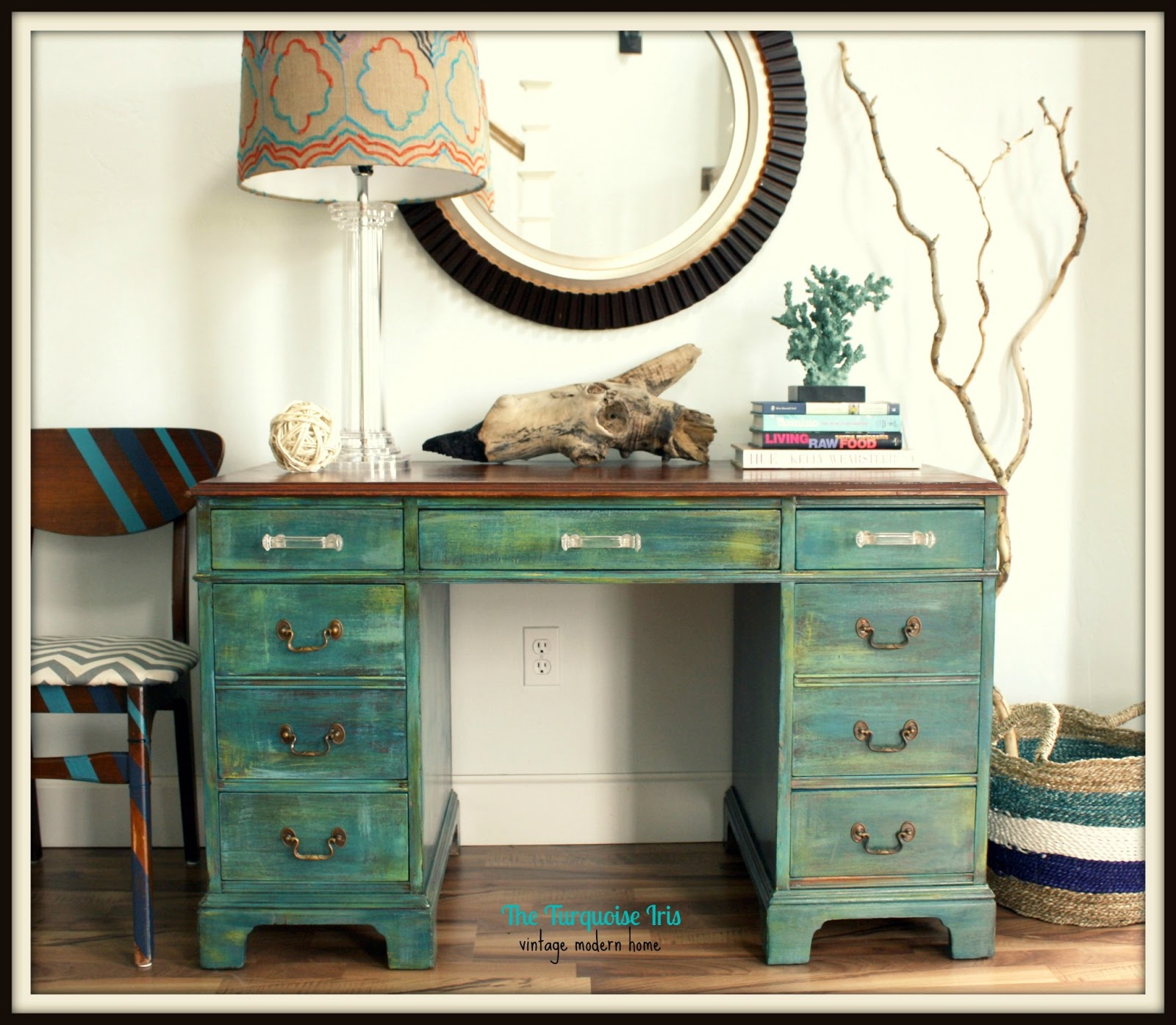 Beau The Turquoise Iris ~ Furniture U0026 Art: Teal Distressed Antique Desk With  Re Finished Mahogany Top