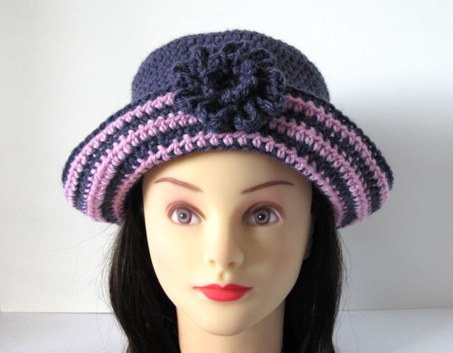 Crochet Pattern Hat Girl : Wind Rose Fiber Studio: Playful Stripes Girls Hat ~ A New ...