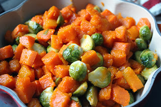 Roasted butternut squash, yam, and brussels sprouts