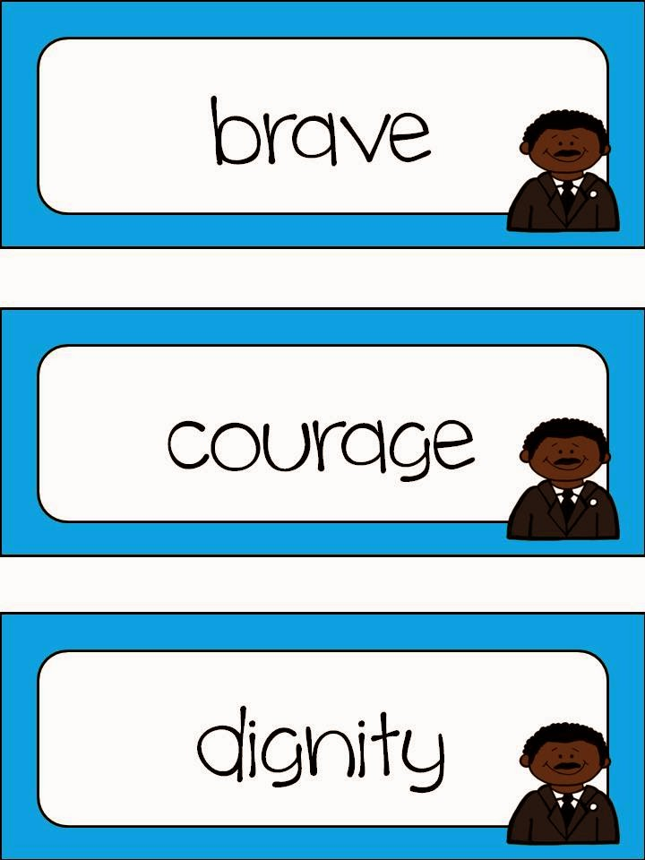 http://www.teacherspayteachers.com/Product/Martin-Luther-King-Jr-Word-Wall-and-Stationary-1051505