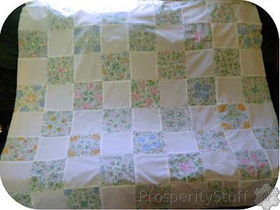 ProsperityStuff Vintage Sheet Quilt Top