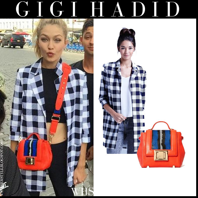 Gigi Hadid in black and white gingham coat Girls on Film with orange cross body bag Three Floor what she wore july 9