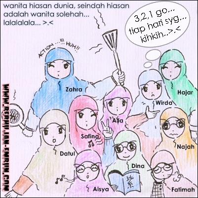 Cartoon Muslimah Comel
