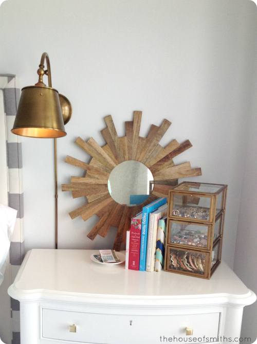 Plug In Wall Sconces For Bedrooms : Brass Lighting & an 80 s Thrift Store Mirror - Aka: A Master Bedroom Update