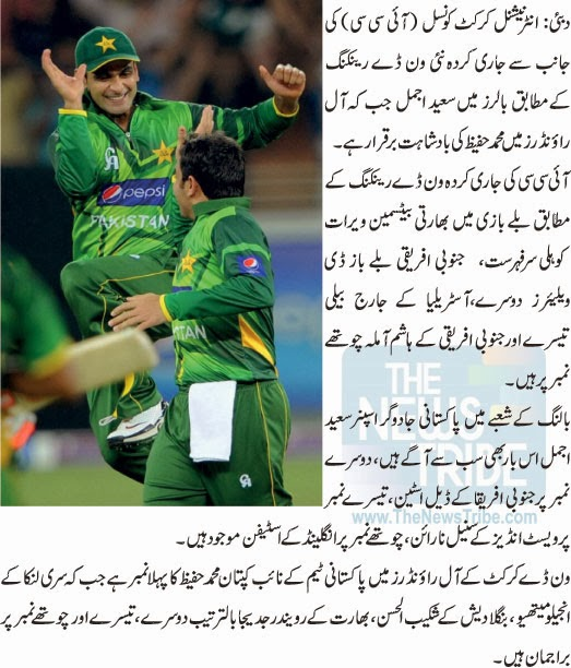 ODI Ranking, Icc Ranking, Ranking, Saeed Ajmal, muhammad Hafeez, Icc, sports news, Cricket N, Cricket Ranking, Latest,