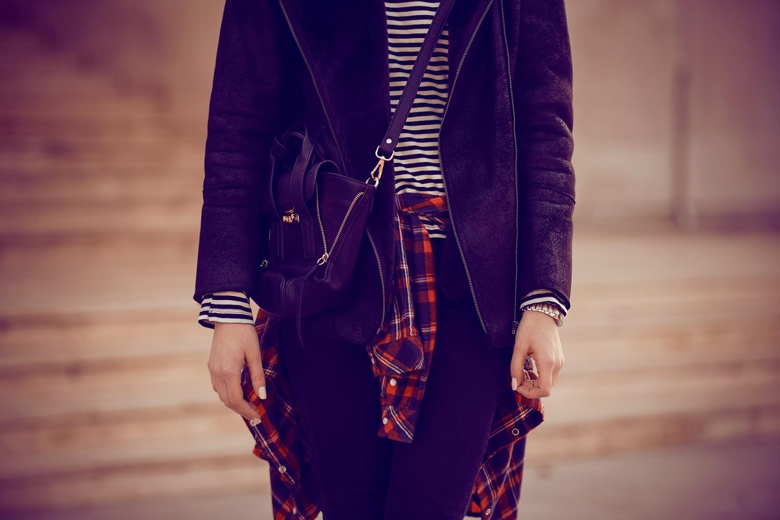 pattern mix, print mix, stripes and tartan, outfit look, style blogger, fashion blogger, black shearling jacket, phillip lim mini pashli replica lookalike annaxi, tartan shirt, striped shirt
