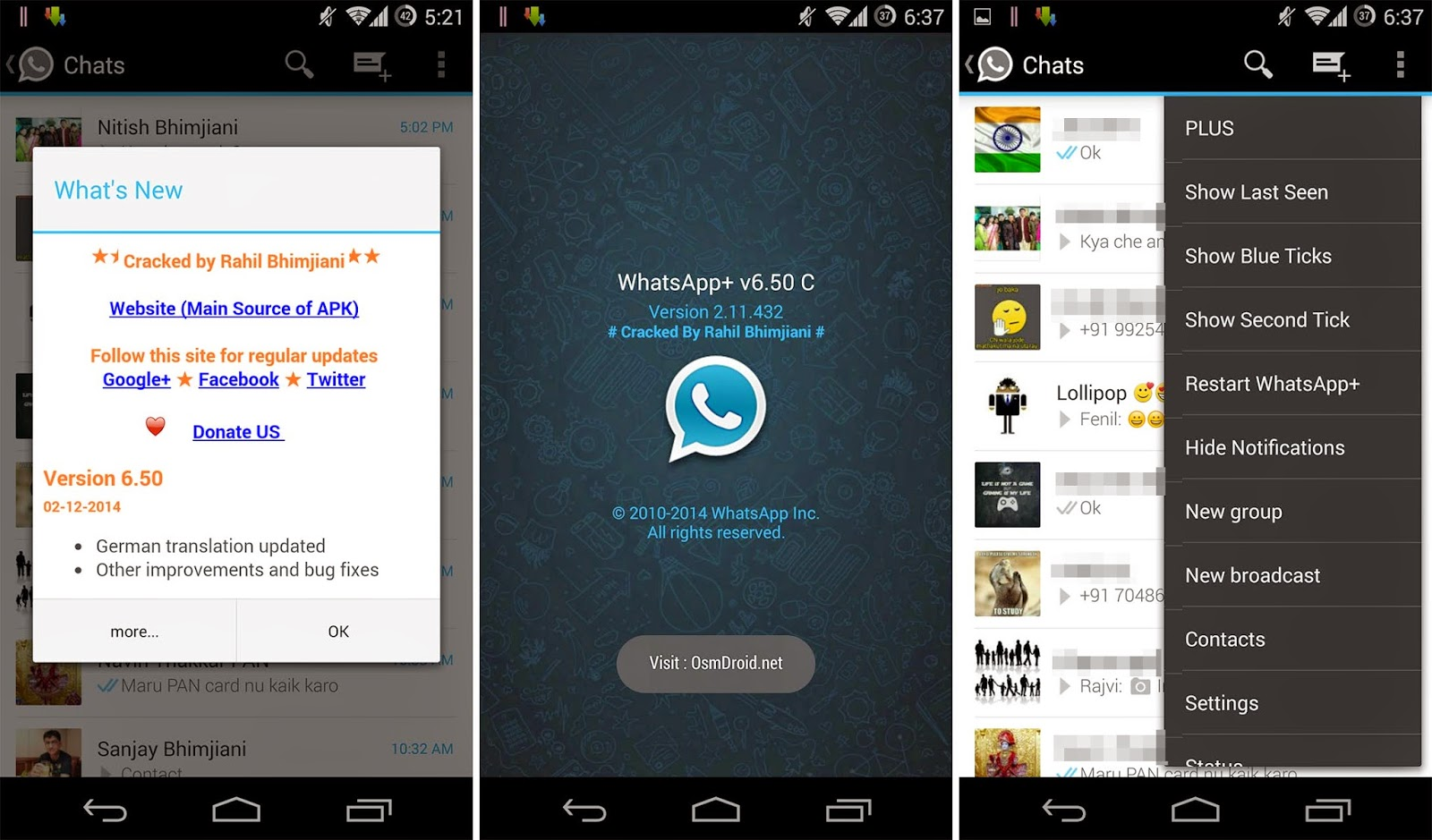 Whatsapp+Plus-6.50-Cracked Rahil Hide Last Seen Online Status Blue Double Ticks Patched Modded