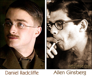 photo of Daniel Radcliffe as Alan Ginsberg next to a photo of Alan Ginsberg, with a very close resemblance