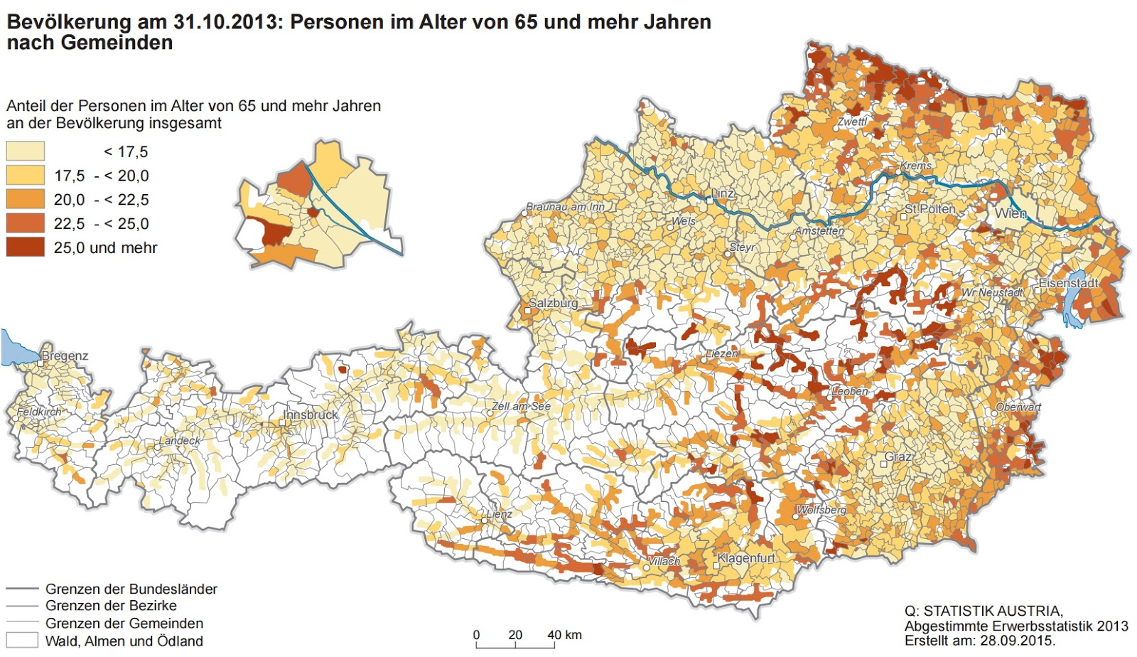 Austria: Proportion of the population older than 65 years