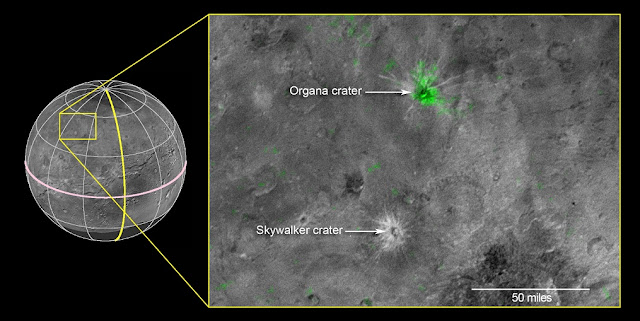 This composite image is based on observations from the New Horizons Ralph/LEISA instrument made at 10:25 UT (6:25 a.m. EDT) on July 14, 2015, when New Horizons was 50,000 miles (81,000 kilometers) from Charon. The spatial resolution is 3 miles (5 kilometers) per pixel. The LEISA data were downlinked Oct. 1-4, 2015, and processed into a map of Charon's 2.2 micron ammonia-ice absorption band. Long Range Reconnaissance Imager (LORRI) panchromatic images used as the background in this composite were taken about 8:33 UT (4:33 a.m. EDT) July 14 at a resolution of 0.6 miles (0.9 kilometers) per pixel and downlinked Oct. 5-6. The ammonia absorption map from LEISA is shown in green on the LORRI image. The region covered by the yellow box is 174 miles across (280 kilometers). Credit: NASA/Johns Hopkins University Applied Physics Laboratory/Southwest Research Institute