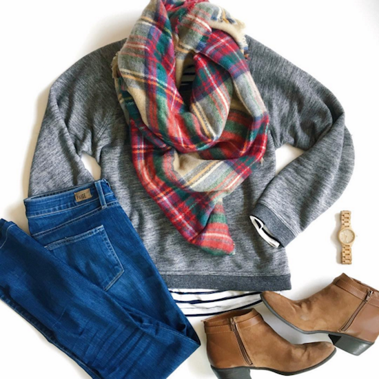 blanket scarf Everlane crewneck sweatshirt Paige denim JORD