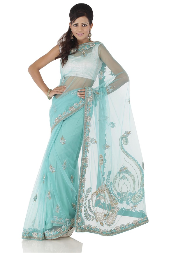 new Turquoise Blue Net Saree