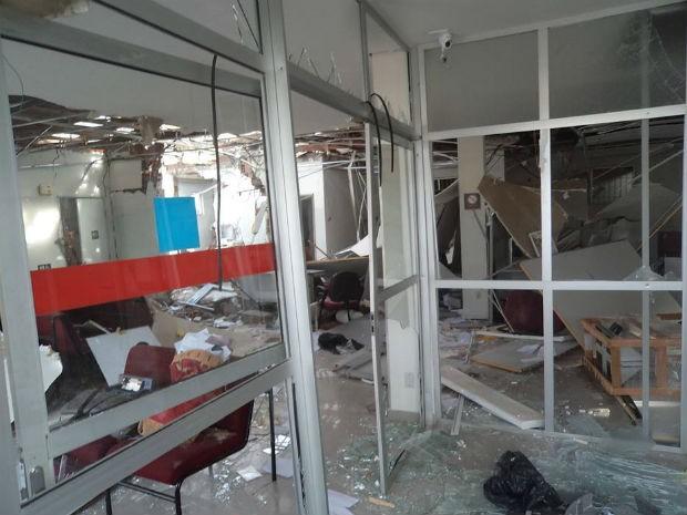 Bradesco explodido Serra Preta (Foto: Alexandro Matos/Site:Voz da Bahia)