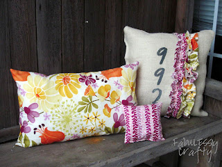 sewing patterns: spring pillows…. fat quarters, burlap and ruffles!