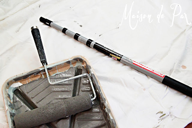 Tips and techniques for DIY painting: use a broom handle for extension