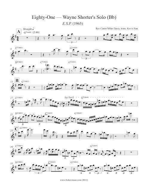 "Wayne Shorter ""Eighty-One"" Solo Transcription - 1"