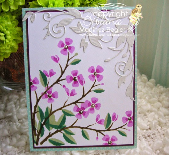 stenciled cherry branch card