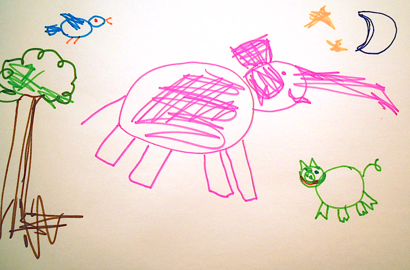 A very fine kid's drawing, complete with pink elephants, blue birds, and green cats.
