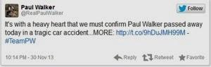 Paul Walker Pelakon Fast & Furious Meninggal Dunia, twitter paul walker