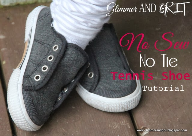 glimmer and grit no sew no tie tennis shoe tutorial