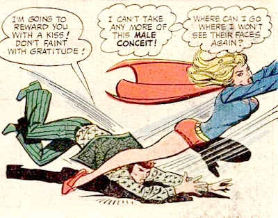 Supergirl #9, Supergirl flies off as a male chauvinist pig pop star tries to kiss her