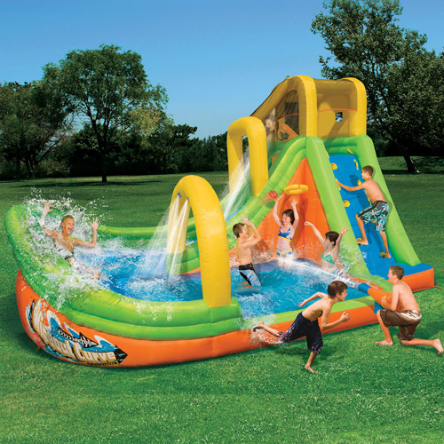 Huge Backyard Water Slide : Banzai Wipeout Curve Inflatable Water Slide