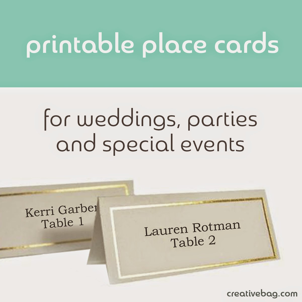 printable place cards | Creative Bag