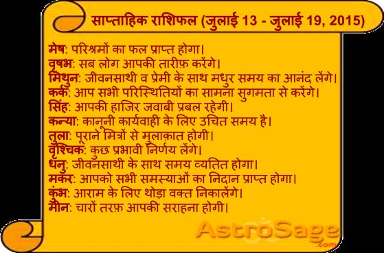 July 13 to July 19, 2015, jane, aane wale is saptah mein kaisa rahega apka bhavishya phal