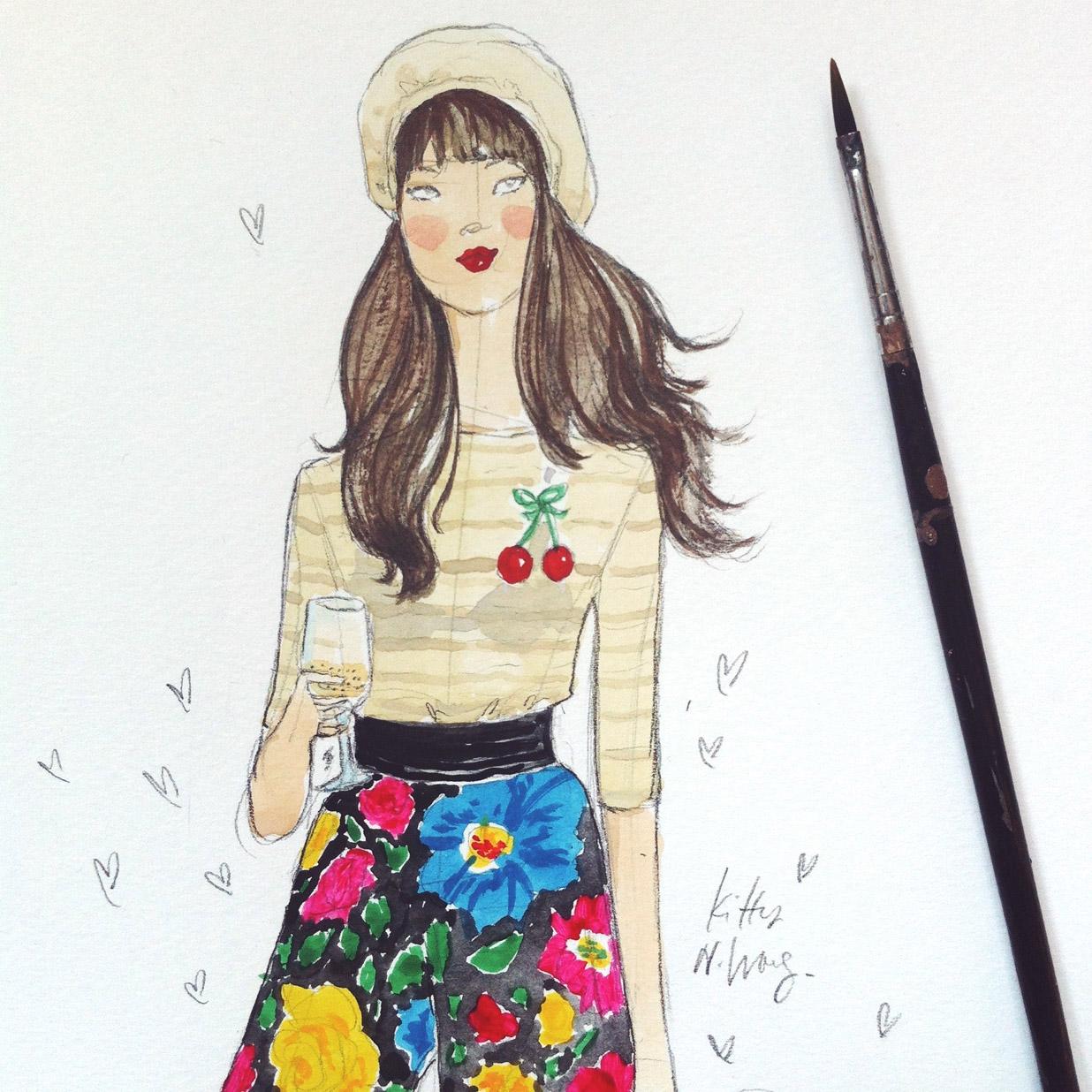 Kitty N. Wong / Affordable Art Fair streetstyle illustration